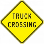 """Accuform FRW441DP, 24″ x 24″ DG High Prism Sign: """"Truck Crossing"""""""