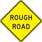 "Accuform FRW443DP, 24″ x 24″ DG High Prism Sign: ""Rough Road"""
