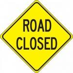 "Accuform FRW458DP, 24″ x 24″ DG High Prism Sign: ""Road Closed"""