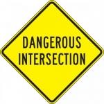 """Accuform FRW459DP, DG High Prism Sign """"Dangerous Intersection"""""""