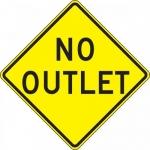 "Accuform FRW468DP, 24″ x 24″ DG High Prism Sign: ""No Outlet"""