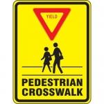 "Accuform FRW509DP, DG High Prism Sign ""Yield – Pedestrian Crosswalk"""