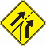 """Accuform FRW650DP, Prism Sign """"Entering Roadway Added Right Lane"""""""