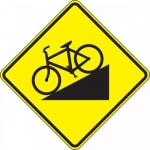 """Accuform FRW677DP, DG High Prism Sign """"Bicycle on Hill Symbol"""""""