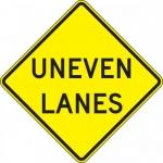 """Accuform FRW690DP, 24″ x 24″ DG High Prism Sign: """"Uneven Lanes"""""""