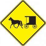 "Accuform FRW734DP, DG High Prism Sign ""Horse-Drawn Vehicle Symbol"""