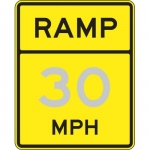 "Accuform FRW74030DP, 30″ x 24″ DG High Prism Sign: ""Ramp – 30 Mph"""