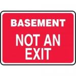 """Accuform MADM916XF, Dura-Fiberglass Sign """"Basement Not an Exit"""""""