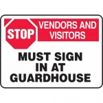 """Accuform MADM960VA, Sign """"Stop Vendors and Visitors Must Sign in …"""""""