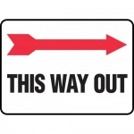 "Accuform MADM979VS, Vinyl Sign ""This Way Out"" & Right Arrow Symbol"