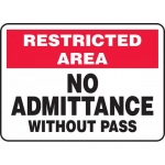 """Accuform MADM985XL, Aluma-Lite Sign """"No Admittance Without Pass"""""""