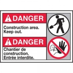 """Accuform MAFC132VP, Bilingual ANSI Sign """"Construction Area Keep Out"""""""