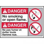 """Accuform MAFC137VP, Bilingual ANSI Sign """"No Smoking or Open Flame"""""""