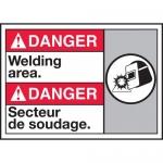 "Accuform MAFC153VP, Plastic Bilingual ANSI Sign ""Welding Area"""