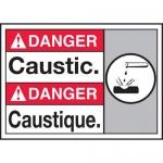 "Accuform MAFC155VP, Plastic Bilingual ANSI Sign with Legend ""Caustic"""