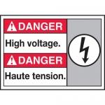 "Accuform MAFC171VP, Plastic Bilingual ANSI Sign ""High Voltage"""