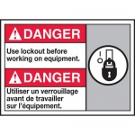 """Accuform MAFC183VP, Bilingual Sign """"Use Lockout Before Working…"""""""