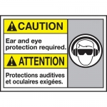 """Accuform MAFC612VP, Bilingual Sign """"Ear and Eye Protection Required"""""""