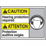 """Accuform MAFC619VP, Bilingual ANSI Sign """"Hearing Protection Required"""""""