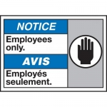 """Accuform MAFC829VS, Vinyl Bilingual ANSI ISO Sign """"Employees Only"""""""