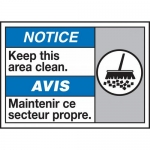 "Accuform MAFC835VP, Plastic Bilingual ANSI Sign ""Keep This Area Clean"""