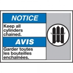 """Accuform MAFC841VP, Bilingual ANSI Sign """"Keep All Cylinders Chained"""""""