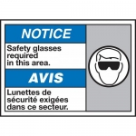 """Accuform MAFC852VP, ANSI Sign """"Safety Glasses Required in This Area"""""""