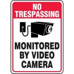 """Accuform MASE900XF, Sign """"No Trespassing Monitored By Video Camera"""""""