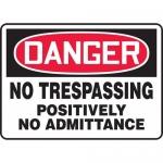 """Accuform MATR101XL, OSHA Sign """"Danger No Trespassing Positively No…"""""""