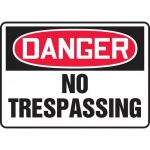 """Accuform MATR112VP, Plastic OSHA Sign with Legend """"No Trespassing"""""""