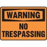 """Accuform MATR302VP, Plastic OSHA Sign """"Warning No Trespassing"""""""