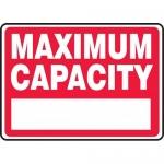 """Accuform MCAP503VS, Adhesive Vinyl Sign with Legend """"Maximum Capacity"""""""