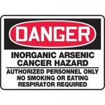 "Accuform MCAW012VS, Vinyl OSHA Sign ""Inorganic Arsenic Cancer…"""