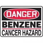 "Accuform MCAW014VS, Adhesive Vinyl OSHA Sign ""Benzene Cancer Hazard"""