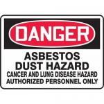 "Accuform MCAW108VS, Vinyl OSHA Sign ""Asbestos Dust Hazard Cancer"""
