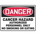 "Accuform MCAW123VS, OSHA Sign ""Cancer Hazard Authorized Personnel…"""