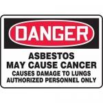 "Accuform MCAW126VS, Vinyl OSHA Sign ""Asbestos May Cause Cancer…"""