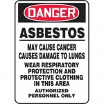 """Accuform MCAW133VS, Adhesive Vinyl Sign """"Asbestos May Cause Cancer…"""""""