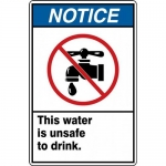 "Accuform MCAW811XP, ANSI Sign ""Notice This Water is Unsafe to Drink"""