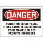 """Accuform MCCH172XL, French Sign """"Poreter Un Ecran Facial Et Des…"""""""