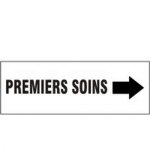 """Accuform MCFS547VA, French Sign """"Premiers Soins"""" & Right Arrow Symbol"""