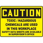 "Accuform MCHC799VA, OSHA Sign ""Toxic, Hazardous Chemicals are Used…"""
