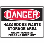 "Accuform MCHG030VS, Vinyl OSHA Sign ""Hazardous Waste Storage Area…"""