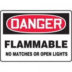 """Accuform MCHG067VA, OSHA Sign """"Flammable No Matches or Open Lights"""""""