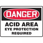 "Accuform MCHG084VA, OSHA Sign ""Acid Area Eye Protection Required"""
