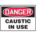"Accuform MCHG087VA, Aluminum OSHA Sign ""Danger Caustic in Use"""