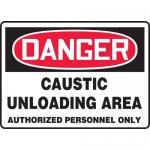 "Accuform MCHG088XT, OSHA Sign ""Caustic Unloading Area Authorized…"""