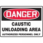 "Accuform MCHG088XV, OSHA Sign ""Caustic Unloading Area Authorized…"""