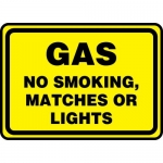 "Accuform MCHG504VA, Aluminum Sign ""Gas No Smoking Matches or Lights"""
