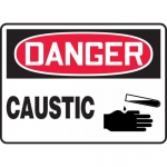 "Accuform MCHL014VA, Aluminum OSHA Sign ""Danger Caustic"" & Symbol"